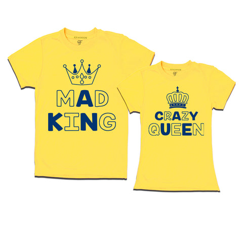 mad king crazy queen couple t shirts