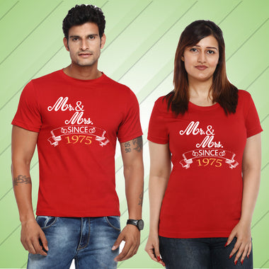 Mr. Mrs. SINCE YOURS YEAR FAMILY COUPLE TSHIRTS