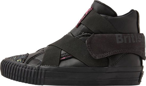 British Knights ROCO-ELASTIC MEISJES SNEAKERS HOOG, BLACK, 32, SYNTHETISCH, British Knights