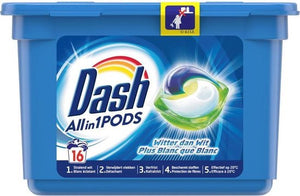 Dash Wasmiddel All in 1 pods Witter dan wit - 16 pods, Dash