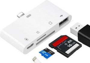 Lightning naar USB / SD  kaartlezer - cardreader - camera connection kit - 5 in 1 - iPhone 11 / X / XS / XR / XS Max / 8 / 7 / 6 - voor Apple iPhone, iPad, Grixx