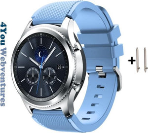 Licht Blauw Siliconen Sporthorloge Bandje voor 22mm Smartwatches van Samsung, LG, Seiko, Asus, Pebble, Huawei, Cookoo, Vostok en Vector – 22 mm rubber smartwatch strap - Gear S3 - LG Watch - Baby Blauw, 4You Webventures