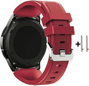 Rood Siliconen Sporthorloge Bandje voor 20mm Smartwatches (zie compatibilteitslijst) van Samsung, Pebble, Garmin, Huawei, Moto, Ticwatch, Seiko, Citizen en Q – 20 mm red rubber smartwatch strap, Merkloos