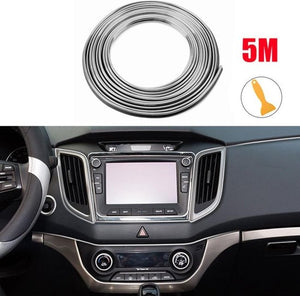 Auto Interieur Strips - Decoratie Strip - Auto - Interieur - Auto Styling - 5M - Zilver, Merkloos