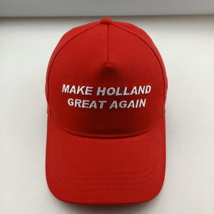 2 x luxe katoenen baseball cap - Make Holland Great Again - rood - verstelbaar -100% katoen -geïnspireerd op de Trump pet/ Trump cap ' Make America great again', Lire La Vie