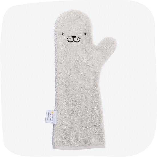 Baby Shower Zeehond Baby Washandje - Grijs, Baby Shower Glove