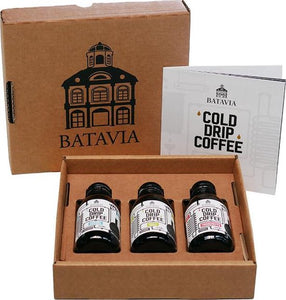 Batavia Cold Drip Coffee geschenkverpakking - 3 x 125ml - single origin cold drip coffees in geschenkverpakking - het meer smaakvolle alternatief voor cold brew koffie, Batavia Cold d