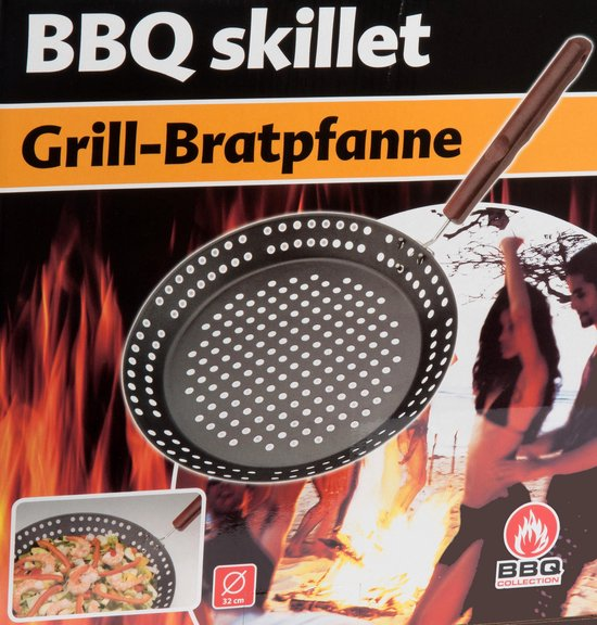 Bbq Collection Barbecuepan 32 Cm Staal Zwart/rood, BBQ Collection
