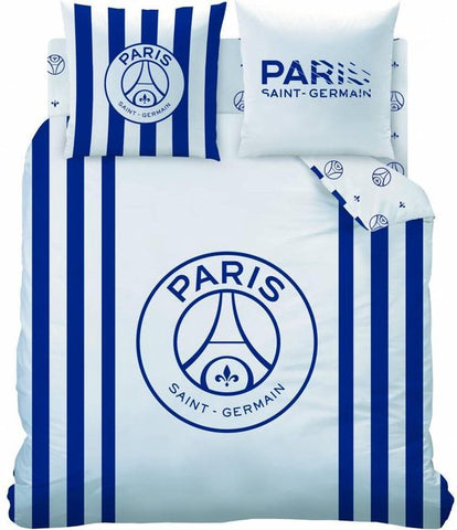 Paris Saint Germain Rayures - Dekbedovertrek - Lits Jumeaux - 240 x 220 cm - Wit, Paris Saint Germain
