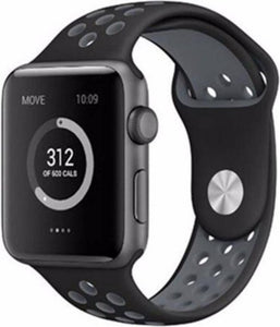 Apple watch dubbel sport band - zwart grijs - 42mm en 44mm - ML - iwatch - Horlogeband Armband Polsband, Merkloos