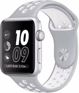 Apple watch dubbel sport band - zilver wit - 38mm en 40mm - ML - iwatch - Horlogeband Armband Polsband, Merkloos