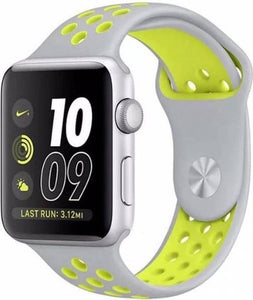 Apple watch dubbel sport band - grijs geel - 42mm en 44mm - ML - iwatch - Horlogeband Armband Polsband, Merkloos
