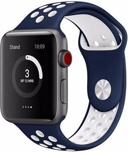 42mm Apple Watch Nike blauw / wit sport bandje - 42mm ML, Merkloos