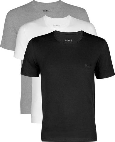 Actie 3-pack: Hugo Boss T-shirts Regular Fit - O-hals - zwart - wit en grijs -  Maat M, Hugo Boss
