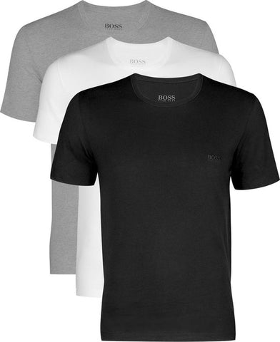 Actie 3-pack: Hugo Boss T-shirts Regular Fit - O-hals - zwart - wit en grijs -  Maat S, Hugo Boss