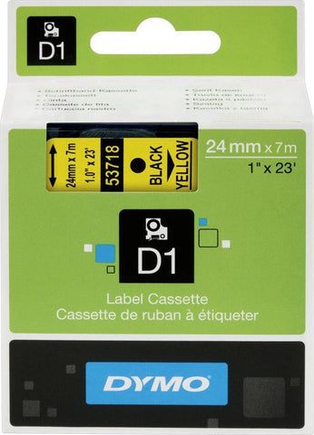DYMO D1 -Standard Labels - Black on Yellow - 24mm x 7m, DYMO