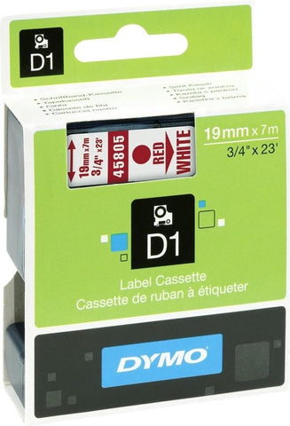 DYMO D1 -Standard Labels - Red on White - 19mm x 7m, DYMO