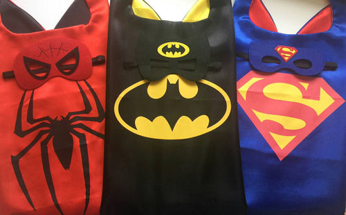 3 Superhero Cape Mask Sets, Superhero Party Favors, Superhero Birthday, Spiderman Party, Batman Party, Superman Party, Superhero Costume