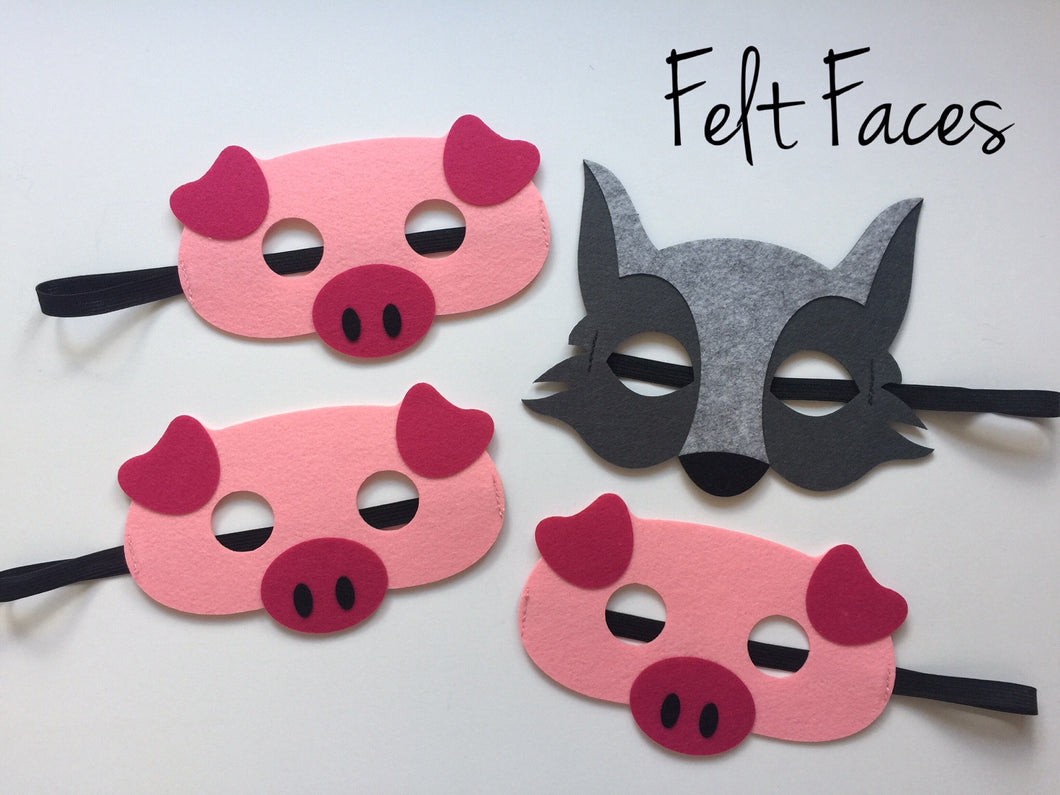 Three Little Pigs and Big Bad Wolf Masks