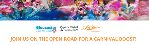 """Gloucester Carnival, Open Road and Art Shape logos. """"Join us call out"""""""