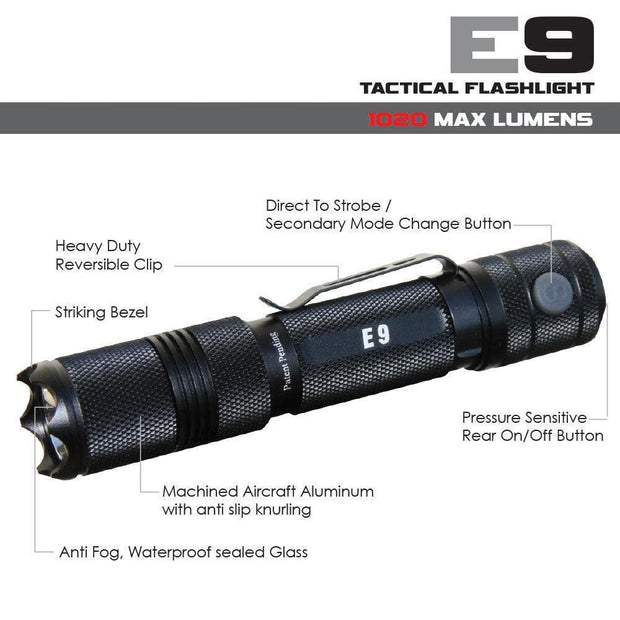 Powertac flashlight PowerTac E9 - 1020 Lumen LED Flashlight