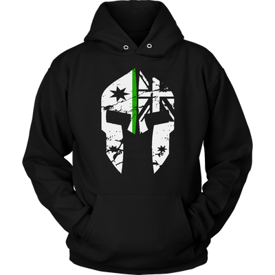 teelaunch T-shirt Unisex Hoodie / Black / S Spartac Classic v2 Thin Green Line Hoodie