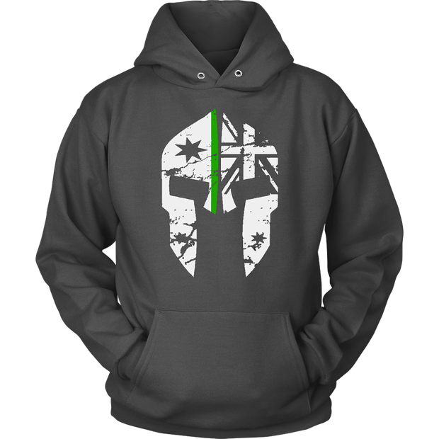 teelaunch T-shirt Unisex Hoodie / Charcoal / S Spartac Classic v2 Thin Green Line Hoodie
