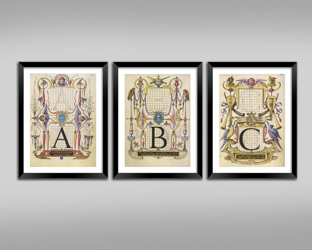 CALLIGRAPHY ART PRINTS: Vintage Alphabet Letter Illustrations - The Print Arcade