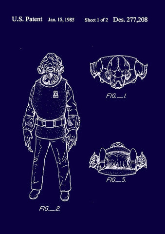 ADMIRAL ACKBAR PRINT: Star Wars Patent Design Artwork Poster