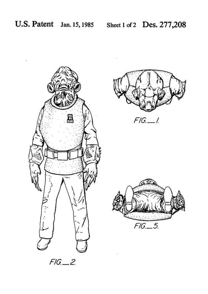 ADMIRAL ACKBAR PRINT: Star Wars Patent Design Artwork Poster - The Print Arcade