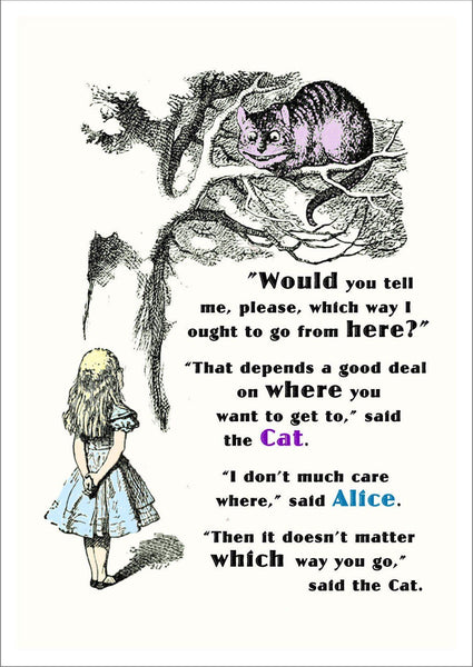 CHESHIRE CAT PRINT: Vintage Alice in Wonderland 'Which Way' Illustration - The Print Arcade
