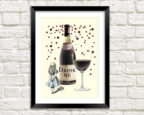 DRINK ME PRINT: Alice in Wonderland Art Illustration - The Print Arcade