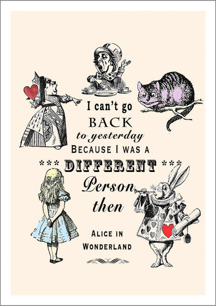 DIFFERENT PERSON PRINT: Vintage Alice in Wonderland Quote Art - The Print Arcade