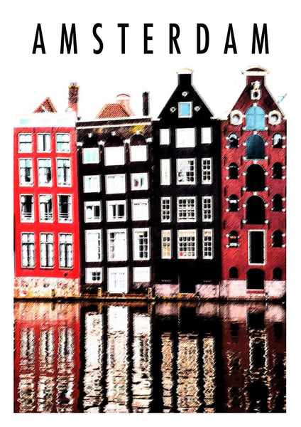AMSTERDAM HOLLAND PRINT: Vintage Travel Poster
