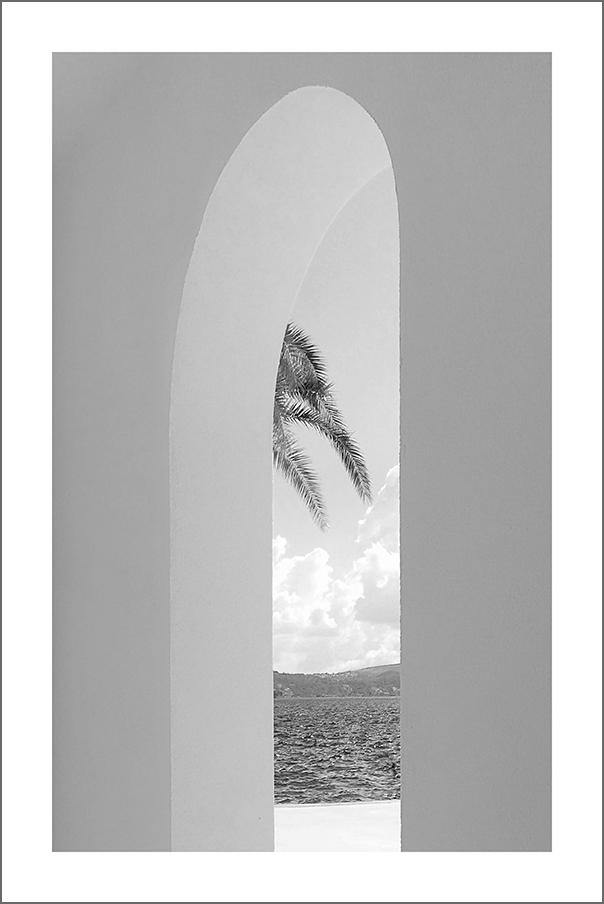 OCEAN VIEW PRINT: Archway and Palm Tree Photo Art