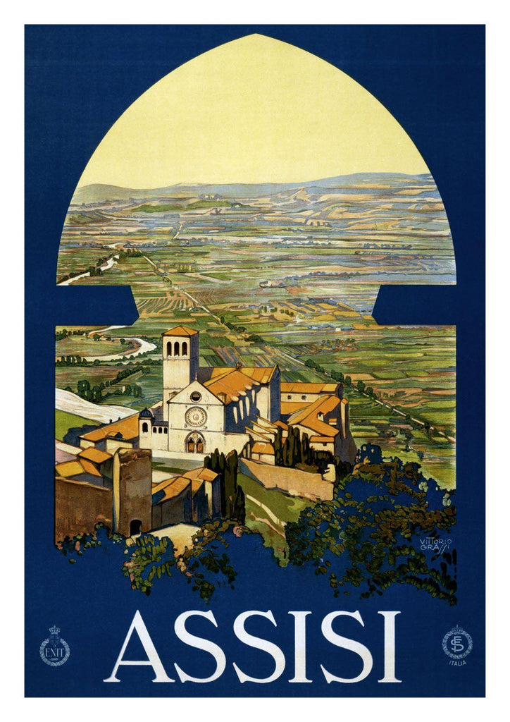 ASSISI TRAVEL POSTER: Vintage Italy Lake Print - The Print Arcade