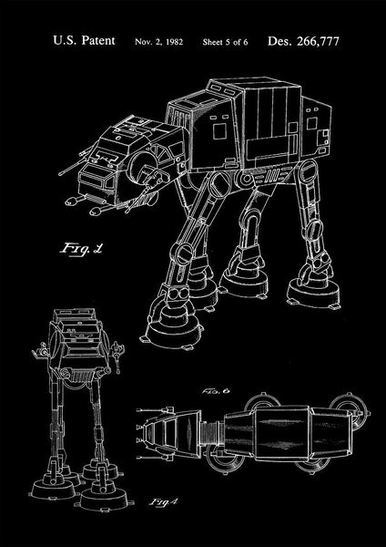 AT-AT PRINT: Imperial Walker Patent Design Artwork - The Print Arcade