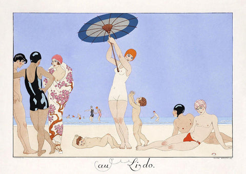 GEORGE BARBIER PRINT: Au Lido Art Deco beach scene