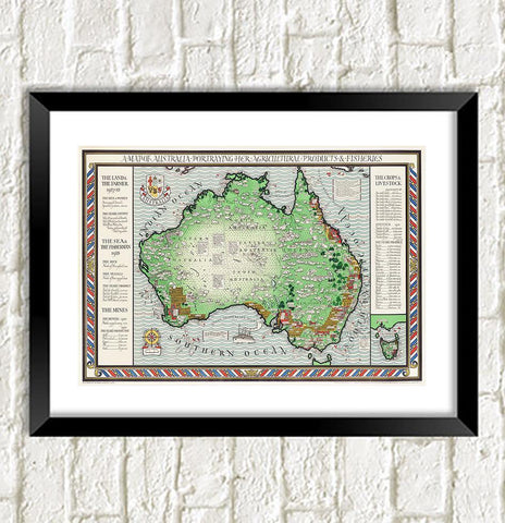 AUSTRALIA MAP PRINT: Vintage Atlas Art