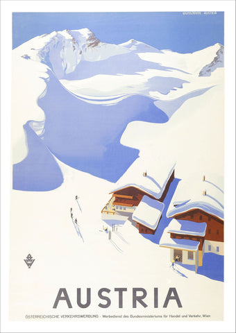 VINTAGE AUSTRIA POSTER: Winter Sport Advert