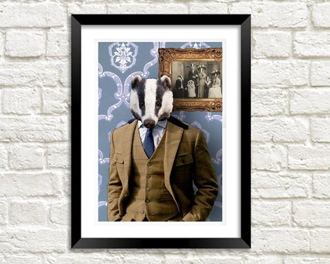MR BADGER: Fun Animal Family Art Print - The Print Arcade
