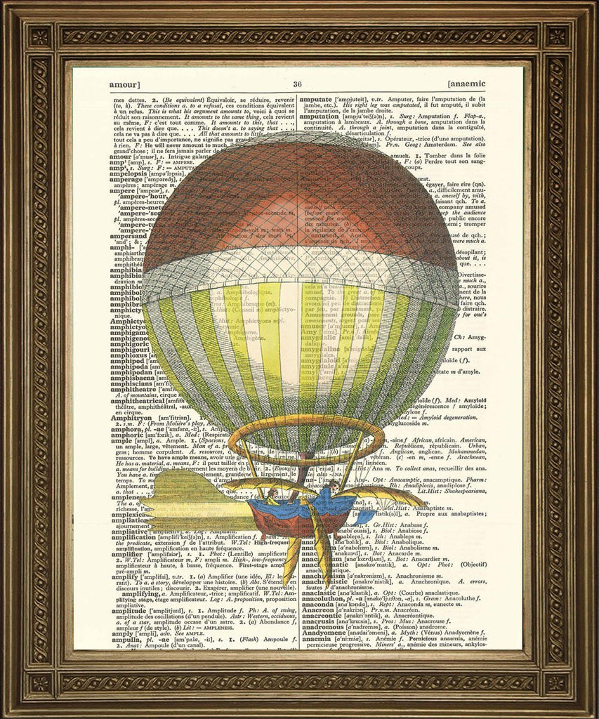 STEAMPUNK BALLOON PRINT: Vintage Dictionary Art - The Print Arcade