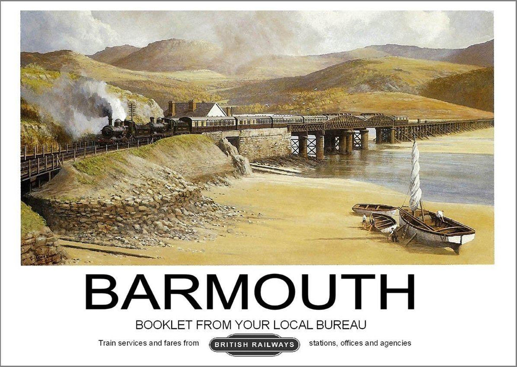 BARMOUTH POSTER: Vintage Wales Rail Travel Advert