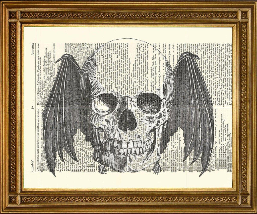 FLYING SKULL PRINT: Dictionary Page Death Art - The Print Arcade