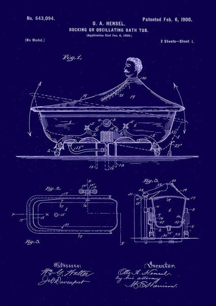 ROCKING BATHTUB PATENT: Fun Blueprint Artwork Print