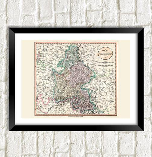BAVARIAN MAP: Vintage German Reproduction Art Print