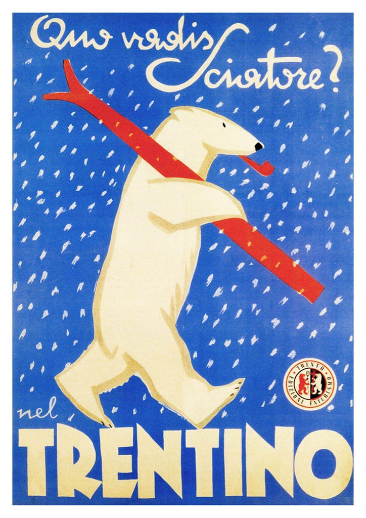 BEAR SKIING POSTER: Vintage Trentino Blue Ski Travel Print - The Print Arcade