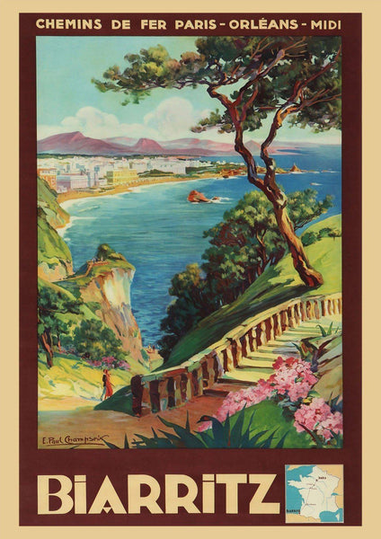 BIARRITZ POSTER: Vintage French Travel Print - The Print Arcade