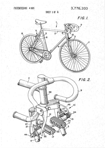 BIKE PATENT PRINTS: Bicycle Blueprint Designs (set of three) - The Print Arcade