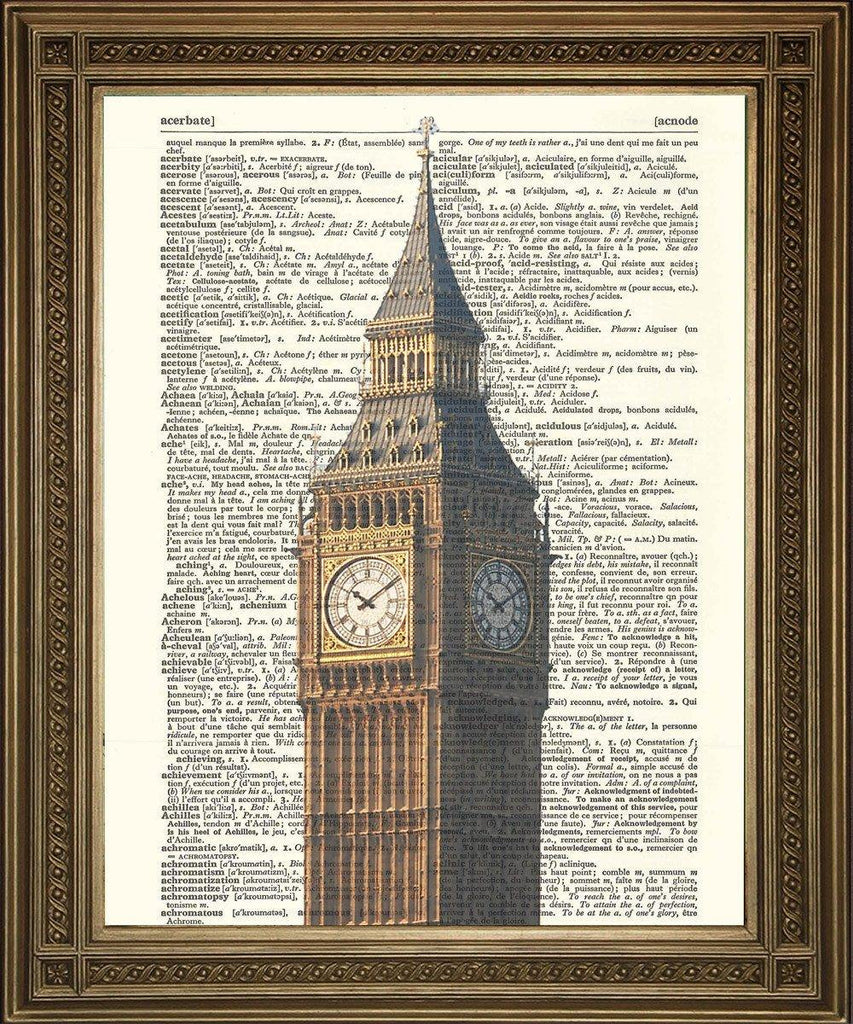 BIG BEN LONDON PRINT: English Dictionary Page Art - The Print Arcade